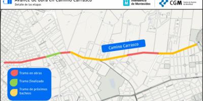Montevideo: Obra y desvíos en Camino Carrasco