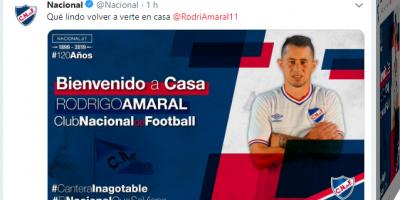 Nacional oficializa el retorno de Rodrigo Amaral