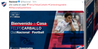 Nacional anuncia a Felipe Carballo como su quinta incorporación