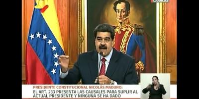 El Presidente de Venezuela  realiza en este momento en Miraflores una rueda de Prensa Internacional