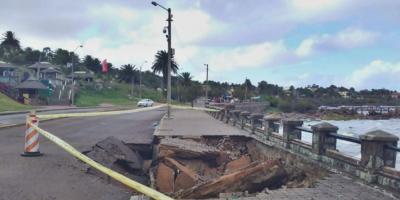 Se hundió parte de la rambla de Piriápolis tras temporal de mar