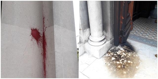 Vandalizaron iglesia con bombas y pintura; evalúan realizar una denuncia judicial