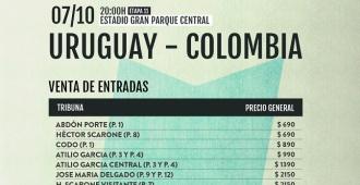 Comienza venta de entradas para Uruguay - Colombia