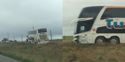 Choque entre ómnibus y auto en Ruta 5 deja como saldo una persona politraumatizada