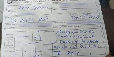 Inician sumario a inspector de Paysandú tras declaración amorosa en una boleta
