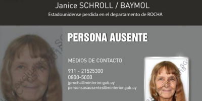 Rocha: buscan a una ciudadana estadounidense desaparecida