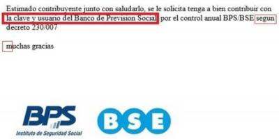 El Banco de Previsión Social alertó por maniobra fraudulenta a través de correo