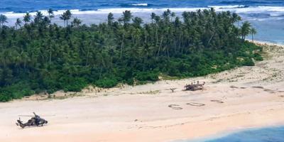 Rescatan a 3 hombres perdidos en una isla desierta del Pacífico tras escribir SOS
