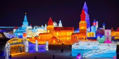 China presenta festival de esculturas de hielo y nieve en medio de fuertes medidas sanitarias