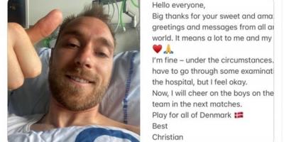 """""""Estoy bien dadas las circunstancias"""", dice Eriksen """"agradecido"""" por el apoyo"""